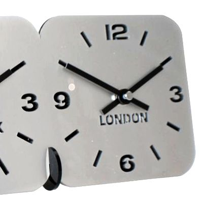 silver Roco Verre Acrylic Desk Table Time Zone Clock