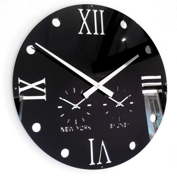 black gloss and mirror Round Retro Roman Timezone Wall Clock
