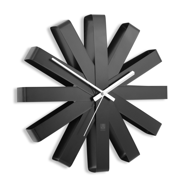 round black wall clock with metal hands