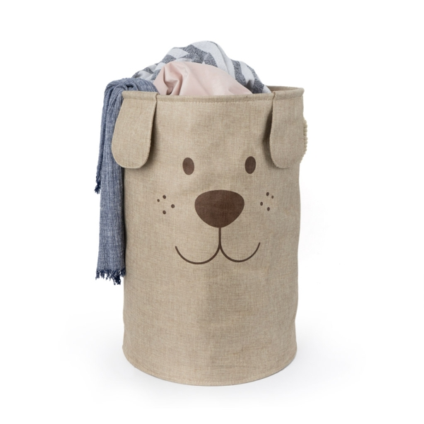 Woof Laundry Hamper Brown with laundry