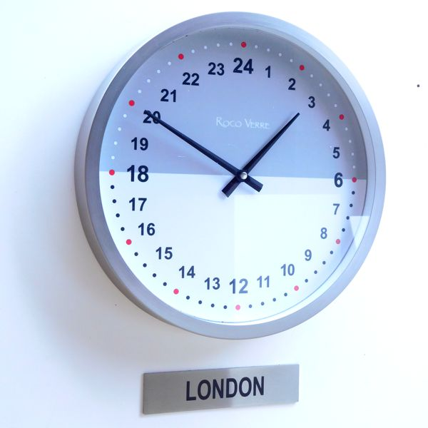 24hr close up office clock with custom timezone sign white, black and grey clock dial