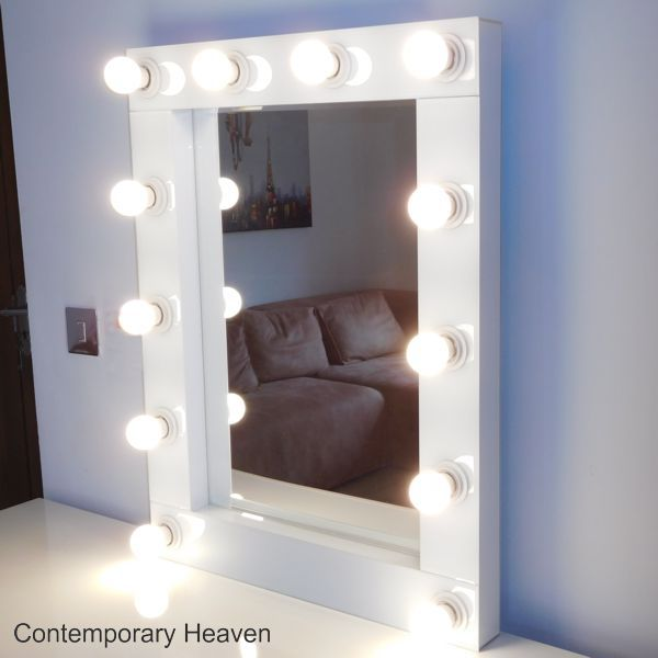 side view on a sideboard Gloss White Bevelled Hollywood Wall Mirrors