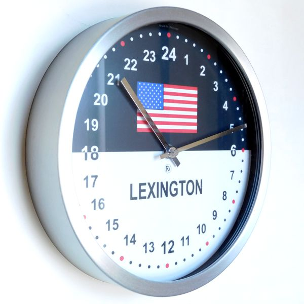 close up 24hr Time Zone Flag Clock