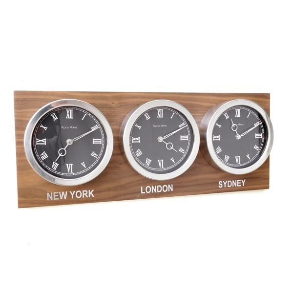 white dial Custom Time Zone World Roman Clocks Walnut Back