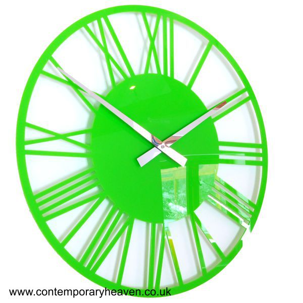 close up gloss lime green wall clock