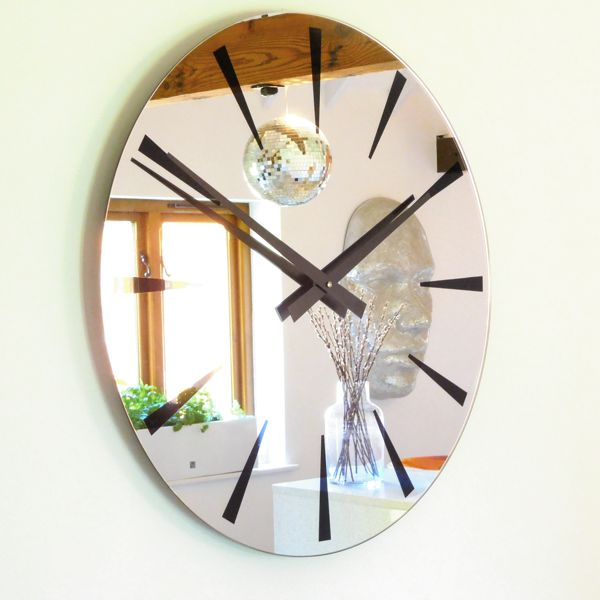 Chevron black Extra Large Mirror Wall Clock on white wall