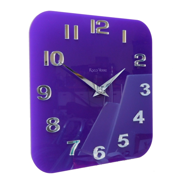 Purple Acrylic Gloss Modern Retro Wall Clock