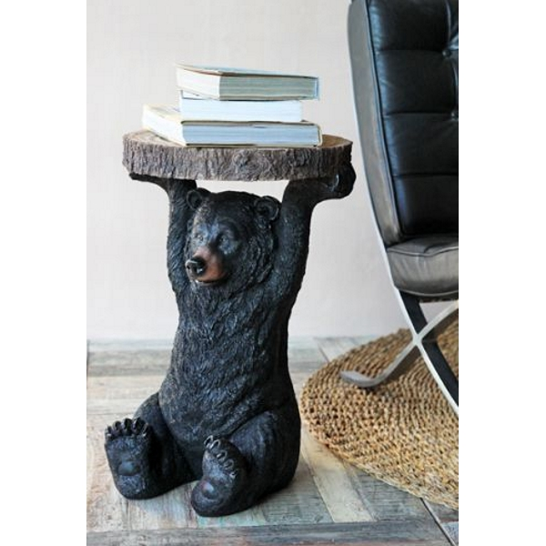 Black Bear Side Table with books on table