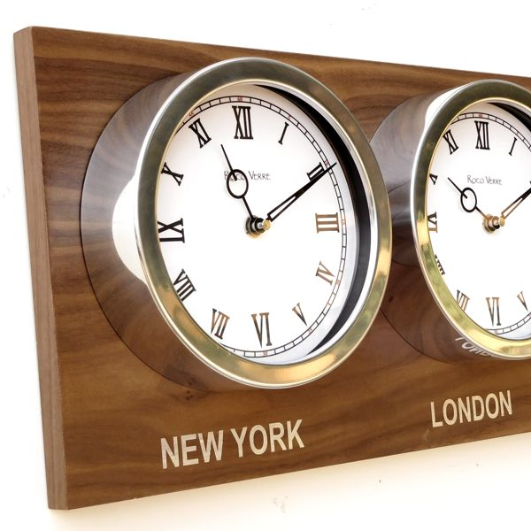 black clock Custom Time Zone World Roman Clocks Walnut Back