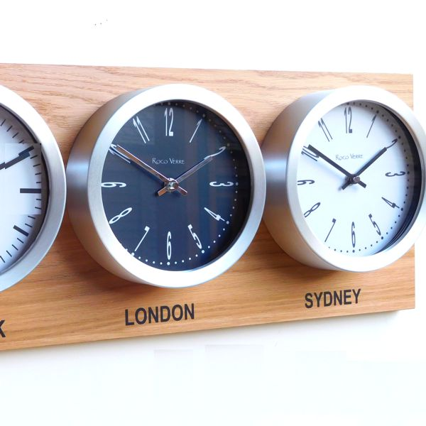 close up  Roco Verre Custom Time Zone 3 Dial Clocks Oak