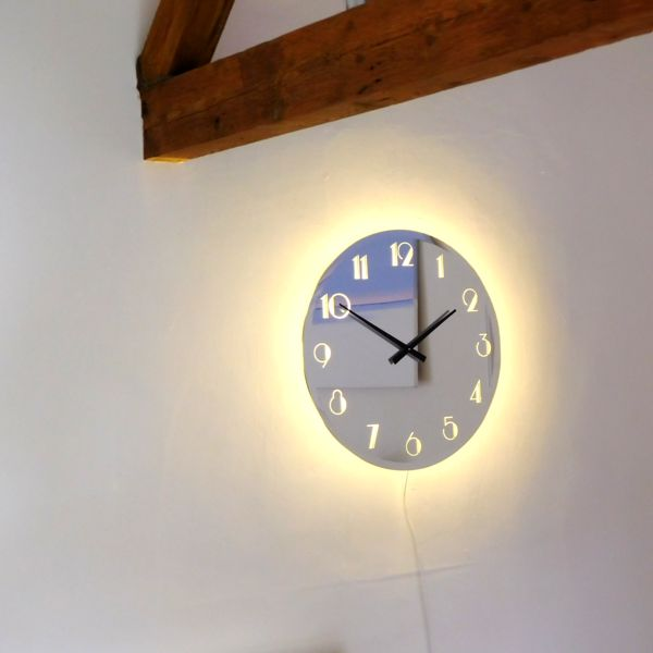 Illuminated Art Deco Light Mirror Wall Clock