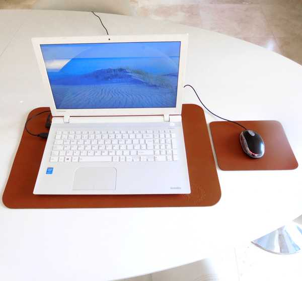 tan close up Extra Large Luxury Leather Desk Mat Laptop Pad