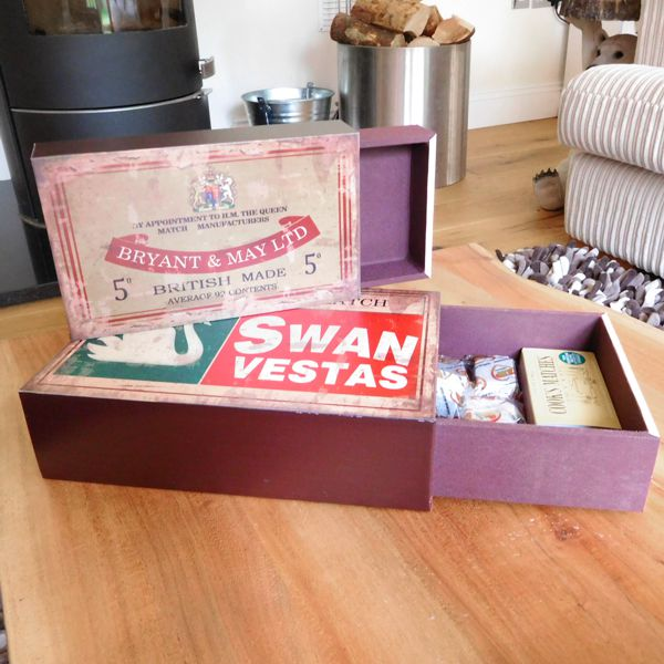 both Antiqued Large Classic Match Box Storage Boxes
