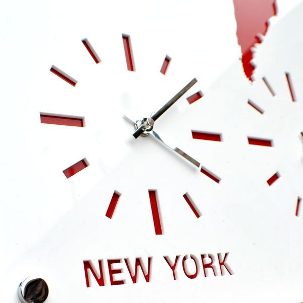 red and white Roco Verre Acrylic Map Clock