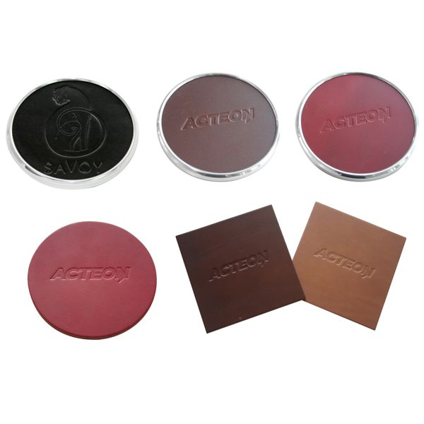 Embossed debossed Personalised Real Leather coasters