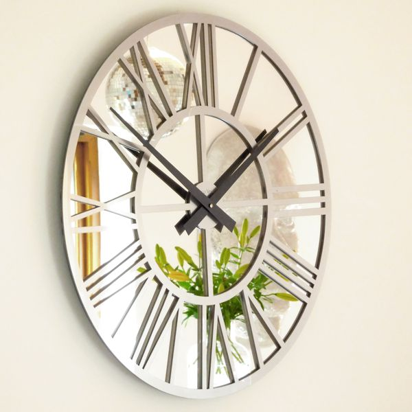 red-gloss-skeleton-mirror-wall-clock