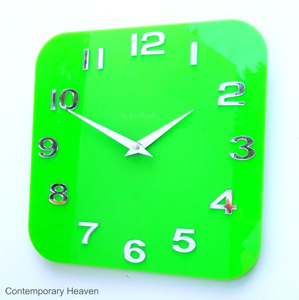 Gloss-lime-green-wall-clock