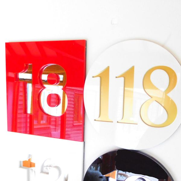 various round and square house number signs gloss modern
