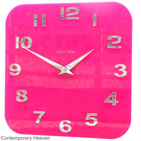 Gloss-pink-wall-clock